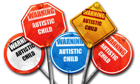autistic: Autistic child sign with orange and black colors, 3D rendering, street signs