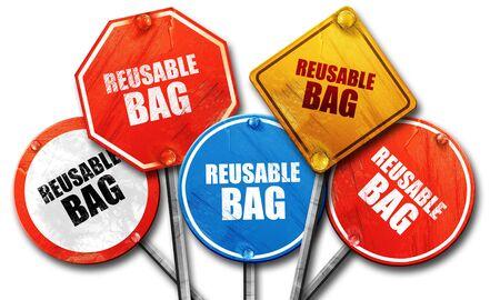 reusable: reusable bag, 3D rendering, street signs
