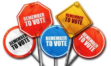 recordar: remember to vote, 3D rendering, street signs Foto de archivo