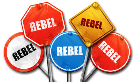 to rebel: rebel, 3D rendering, street signs