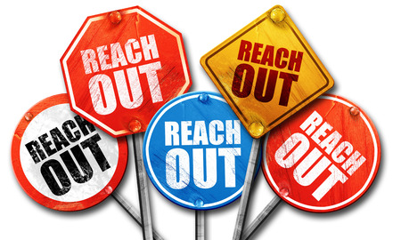 reach out: reach out, 3D rendering, street signs Stock Photo
