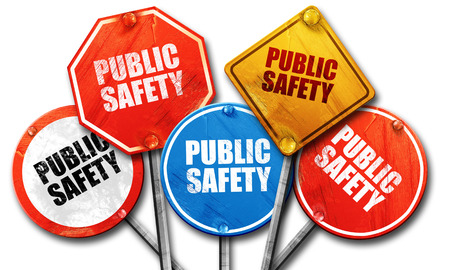 public safety, 3D rendering, street signs Stock Photo