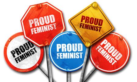 feminist: proud feminist, 3D rendering, street signs