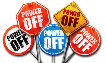 power off: power off, 3D rendering, street signs