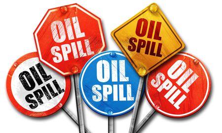 oil spill: oil spill, 3D rendering, street signs