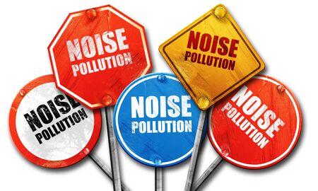 騒音公害、3 D レンダリング、道路標識 写真素材