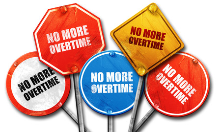 overtime: no more overtime, 3D rendering, street signs Stock Photo
