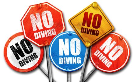 no diving sign: no diving, 3D rendering, street signs Stock Photo