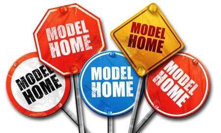 model home: model home, 3D rendering, street signs