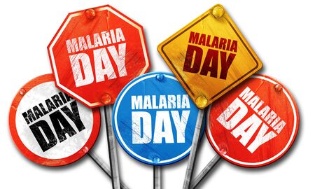 malaria: malaria day, 3D rendering, street signs Stock Photo