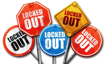 locked: locked out, 3D rendering, street signs Stock Photo