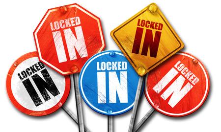 locked: locked in, 3D rendering, street signs