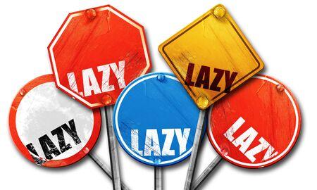slacker: lazy, 3D rendering, street signs