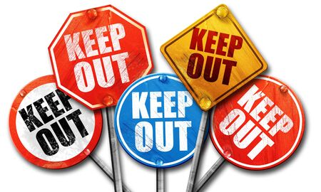 keep out: keep out, 3D rendering, street signs Stock Photo