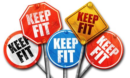 keep fit: keep fit, 3D rendering, street signs
