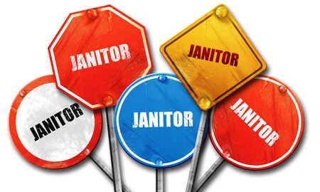 janitor: janitor, 3D rendering, street signs