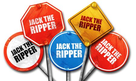 ripper: jack the ripper, 3D rendering, street signs Stock Photo