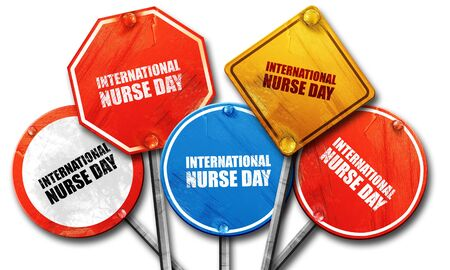 3d nurse: international nurse day, 3D rendering, street signs Stock Photo