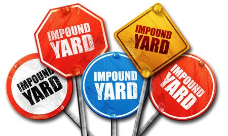 confiscated: impound yard, 3D rendering, street signs