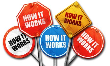 explained: how it works, 3D rendering, street signs Stock Photo