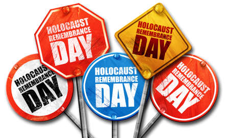 holocaust: holocaust remembrance day, 3D rendering, street signs
