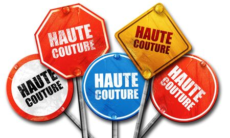 couture: haute couture, 3D rendering, street signs Stock Photo