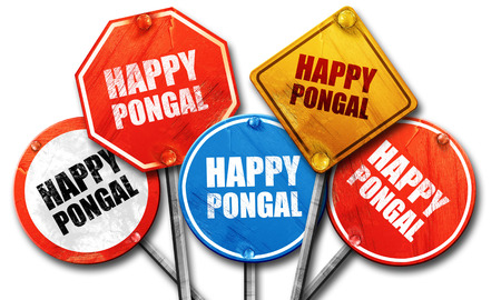 pongal: happy pongal, 3D rendering, street signs