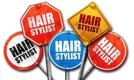 hair stylist: hair stylist, 3D rendering, street signs