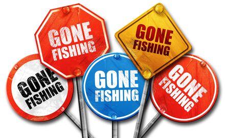 gone: gone fishing, 3D rendering, street signs
