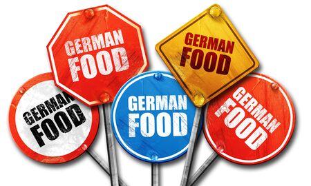 comida alemana: comida alemana, 3D, señales de la calle Foto de archivo