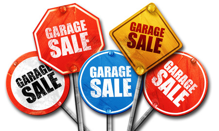 garage sale, 3D rendering, street signs Stock Photo