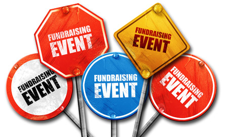 fundraising event, 3D rendering, street signs Foto de archivo