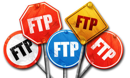 ftp: ftp, 3D rendering, street signs Stock Photo
