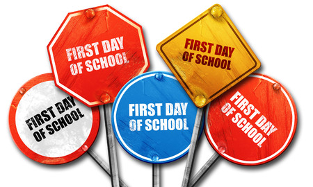 first day: first day of school, 3D rendering, street signs