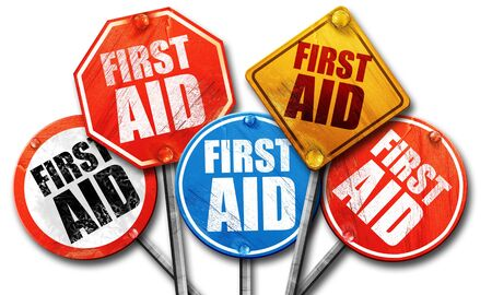 cross street with care: first aid, 3D rendering, street signs