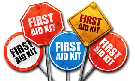 cross street with care: first aid kit, 3D rendering, street signs