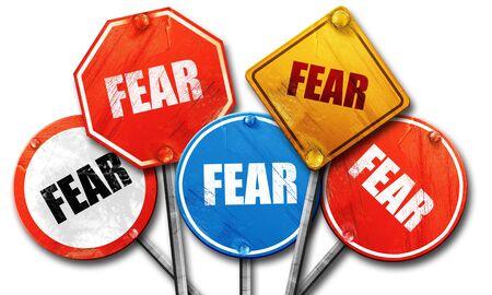 fear: fear, 3D rendering, street signs Stock Photo