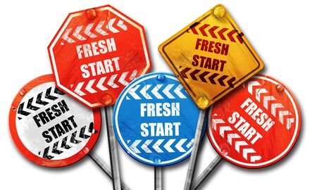 fresh start: Fresh start sign with some smooth lines and highlights, 3D rendering, street signs