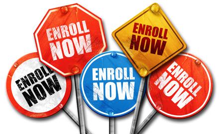 enroll: enroll now, 3D rendering, street signs Stock Photo