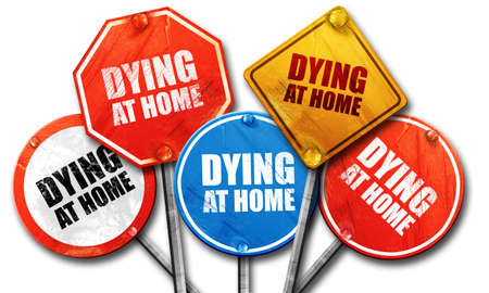 dying: dying at home, 3D rendering, street signs, 3D rendering, street signs Stock Photo