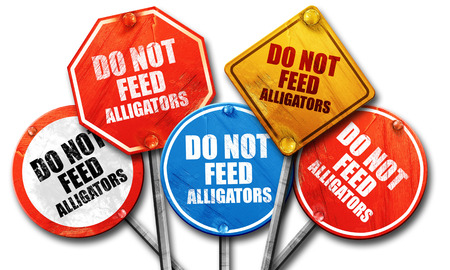 alligators: do not feed alligators, 3D rendering, street signs