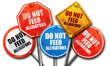alligators: do not feed alligators, 3D rendering, street signs