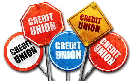 credit union: credit union, 3D rendering, street signs Stock Photo