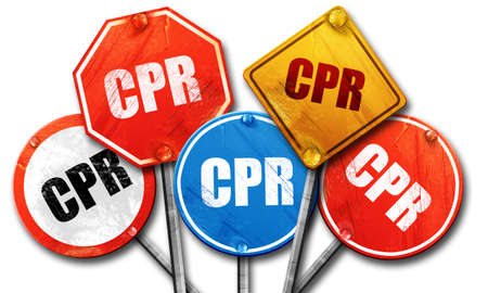chest compression: cpr, 3D rendering, street signs Stock Photo