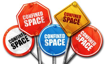 confined: confined space, 3D rendering, street signs