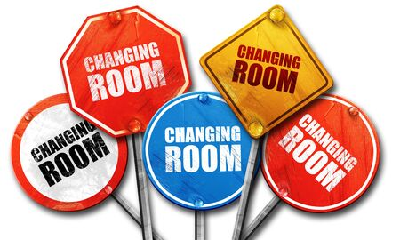 changing room: changing room, 3D rendering, street signs