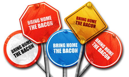 bring: bring home the bacon, 3D rendering, street signs Stock Photo