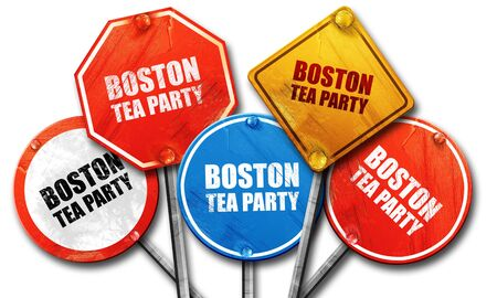 boston tea party: boston tea party, 3D rendering, street signs Stock Photo