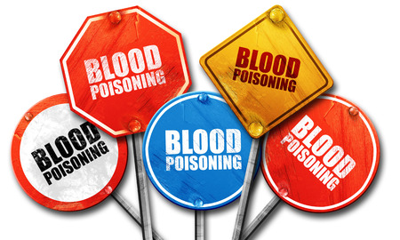 poisoning: blood poisoning, 3D rendering, street signs