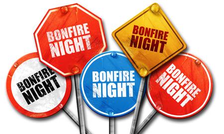 bonfire night: bonfire night, 3D rendering, street signs